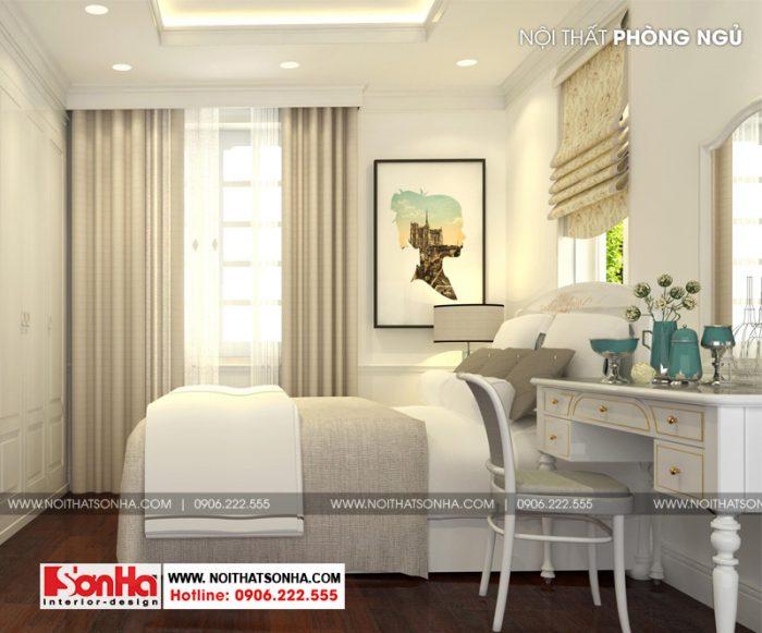phòng ngủ nhỏ nhưng được trang bị đầy đủ tiện nghi và thiết kế đẹp mắt