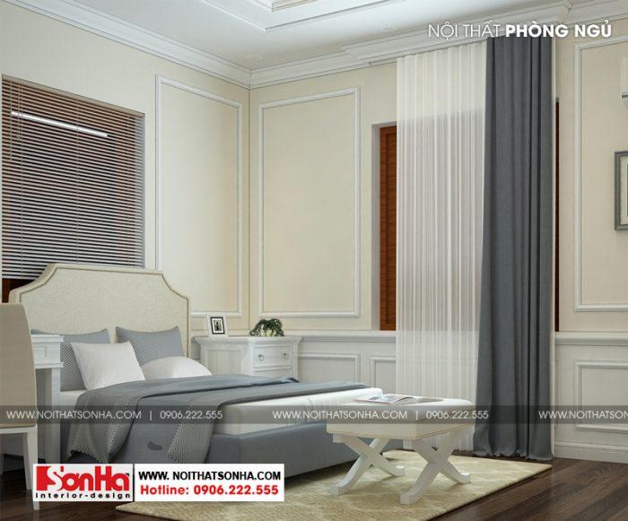 Phào chỉ và sơn màu cùng các trang trí khác của phòng ngủ đều giản dị