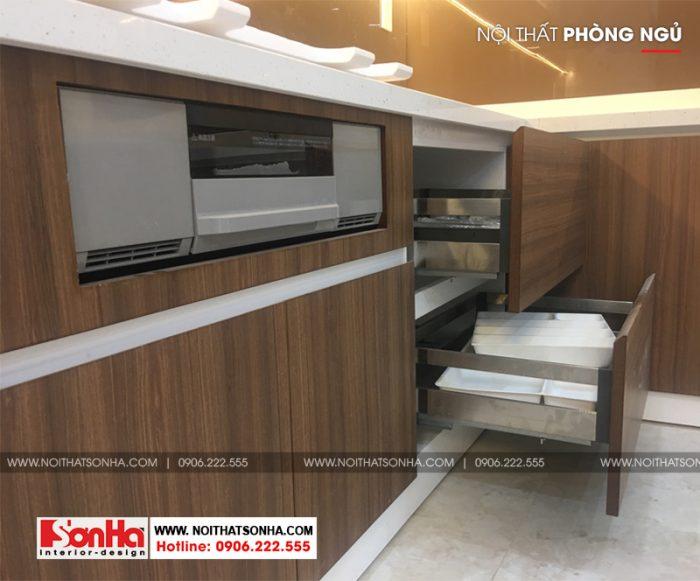 9 Thi công nội thất tủ bếp nhà ống hiện đại đẹp tại hải phòng