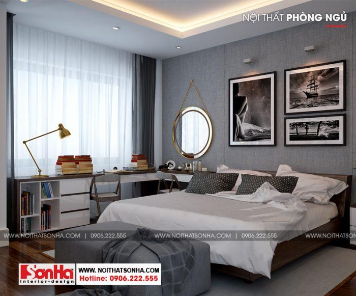 Góc view cho thấy phong cách thiết kế phòng ngủ tối giản hiện đại