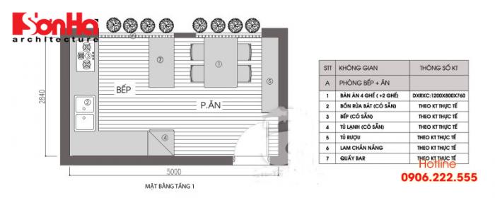 Bản vẽ mặt bằng cho thấy bố trí sắp xếp không gian phòng bếp khoa học