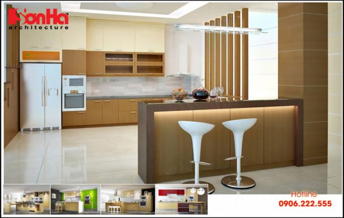 Chiều cao của tủ bếp dưới thông thường là từ 80 đến 90cm và chiều sâu tủ từ 45 đến 50cm