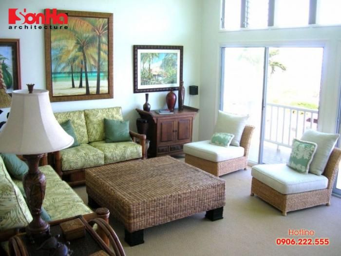 Đơn giản nhưng vô cùng ấn tượng là phòng khách đẹp phong cách Tropical