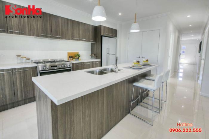 Không gian nội thất nhà bếp khang trang với tủ bếp laminate trang trí đẹp