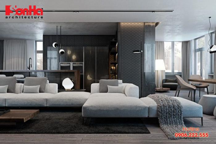 Không gian phòng khách đẹp của căn hộ được thiết kế theo phong cách hiện đại