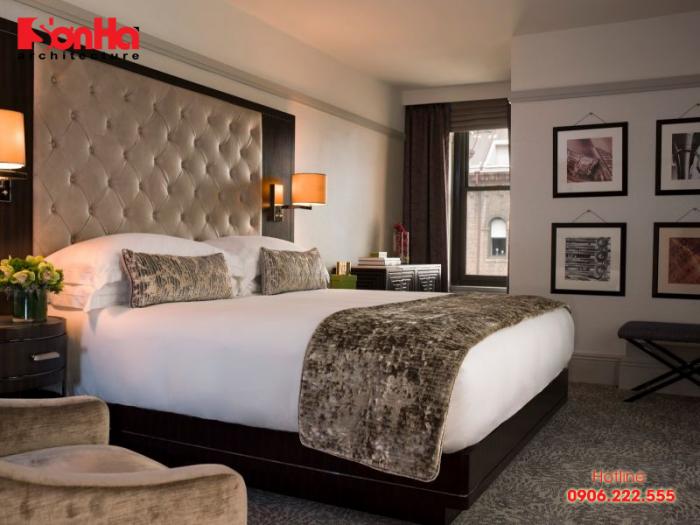 Không gian phòng ngủ khách sạn nên bố trí rộng rãi, thân thiện và tinh tế