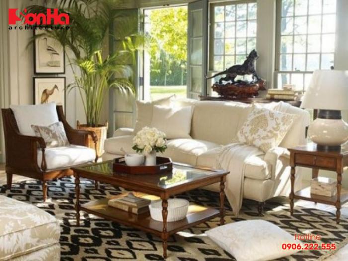 Mẫu nội thất phòng khách hong cách miền nhiệt đới (Tropical Style)