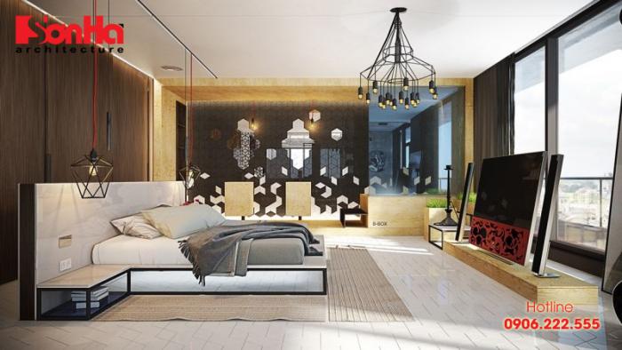 Mẫu phòng ngủ khép kín đẹp với giường ngủ hình dáng hợp thời và sang trọng
