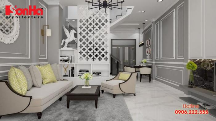 Mẫu thiết kế nội thất phòng khách nhà phố phong cách cổ điển (Classic)