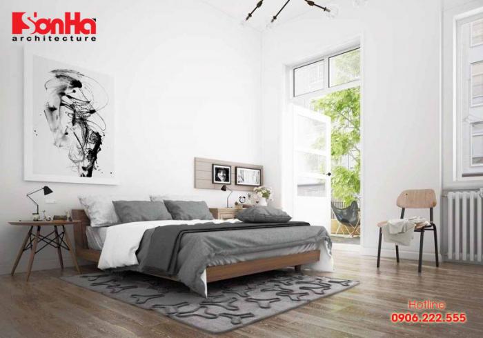 Mẫu thiết kế nội thất phòng ngủ master đẹp với gam màu đơn giản