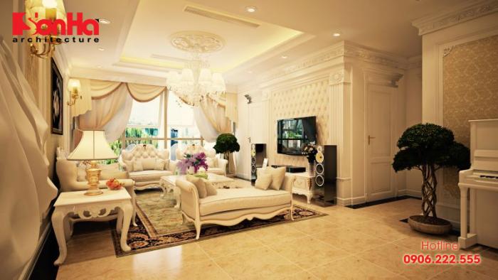 Mẫu thiết kế phòng khách tân cổ điển cũng là xu thế thiết kế nội thất nhà ống