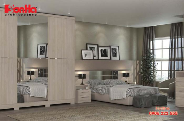 Mẫu thiết kế phòng ngủ hiện đại được sử dụng các gam màu thanh nhã