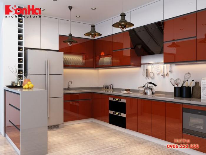 Mẫu thiết kế tủ bếp bằng gỗ nổi bật với lựa chọn màu sắc và ánh sang tinh tế