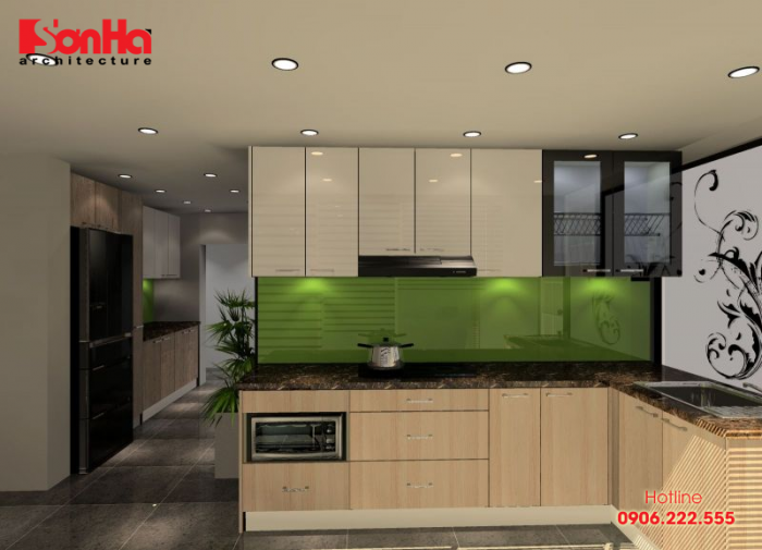 Mẫu tủ bếp chữ L phù hợp cho không gian bếp ăn hiện đại