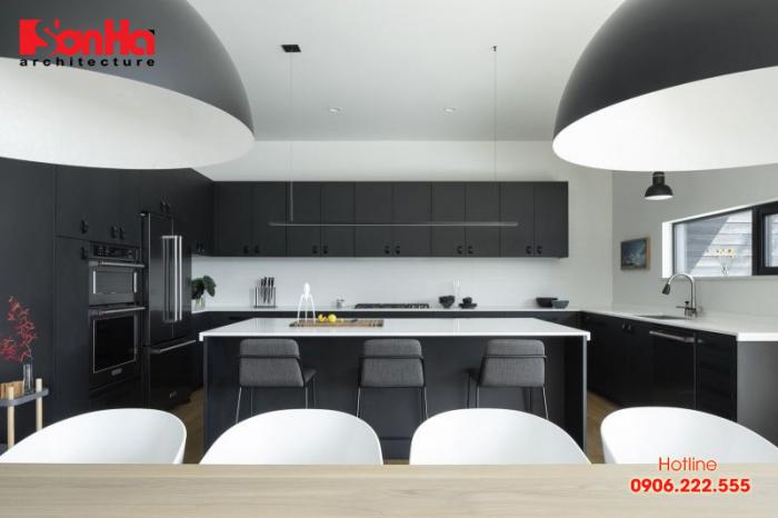 Mẫu tủ bếp đẹp từ chất liệu laminate màu đen trắng cho bếp sang trọng