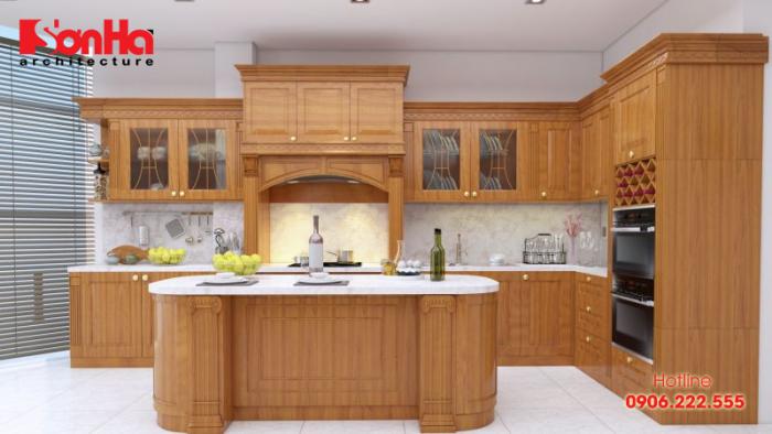 Mẫu tủ bếp gỗ tự nhiên có ưu điểm là có độ bền cao