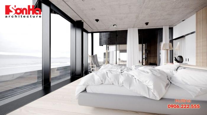 Một góc phòng ngủ master thiết kế hiện đại với view đẹp nên thơ