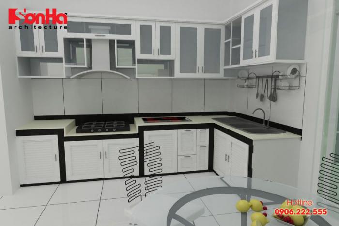 Một ví dụ của mẫu tủ bếp đẹp làm bằng chất liệu nhôm kính