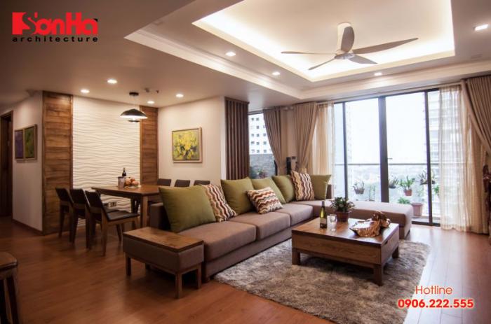 Phòng khách kết hợp bếp là đặc trưng trong thiết kế nội thất căn hộ chung cư