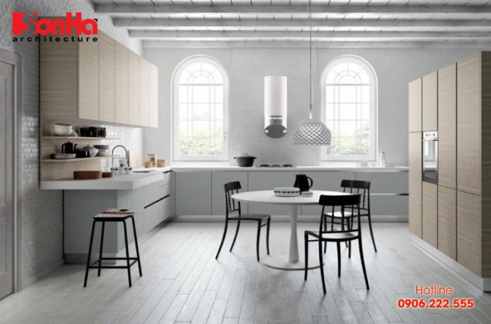 Tham khảo điển hình về thiết kế phòng bếp ăn hiện đại diện tích lớn