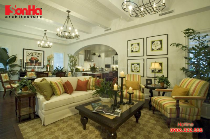 Thêm một ý tưởng cho việc trang trí phòng khách biệt thự phong cách nhiệt đới