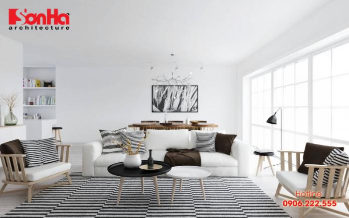Thiết kế nội thất phòng khách đẹp và sang phong cách đương đại