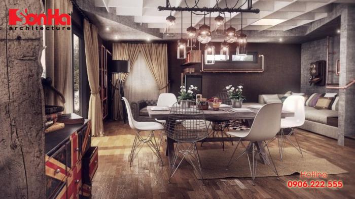 Thiết kế phòng khách và phòng bếp ăn căn hộ phong cách Vintage