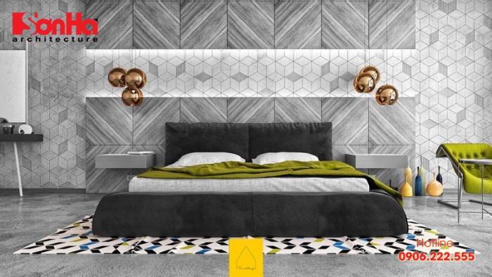 Thiết kế phòng ngủ màu xám tuyệt với và tiện nghi với toilet khép kín