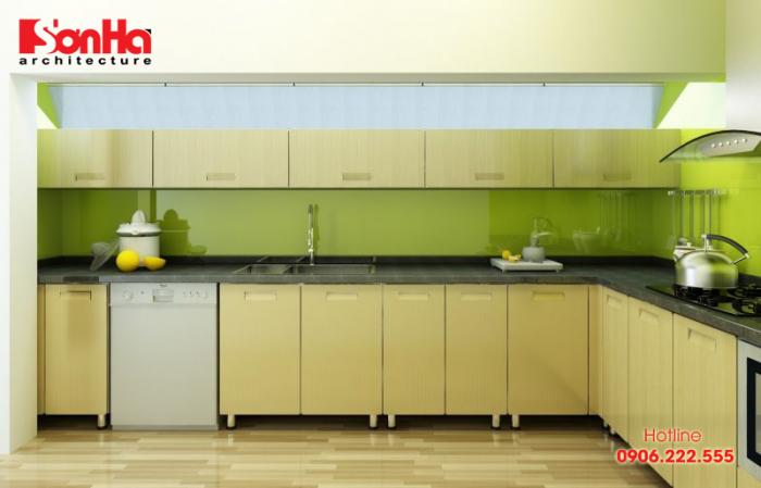 Thiết kế tủ bếp chữ L vật liệu nhựa cao cấp cho không gian bếp người mệnh Mộc