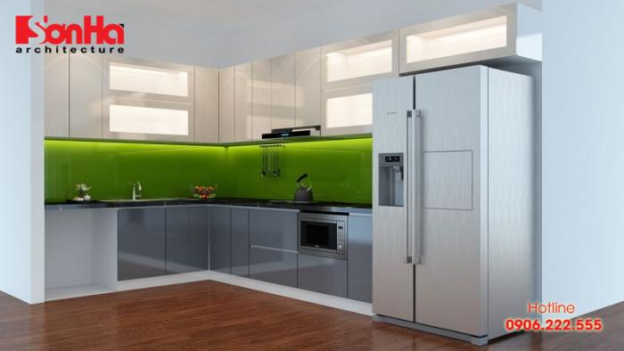 Thiết kế tủ bếp nhựa cao cấp phù hợp phong thủy người có mệnh Mộc