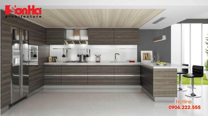 Thiết kế và thi công tủ bếp gỗ laminte ấn tượng trong không gian bếp đẹp