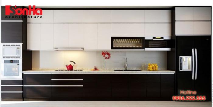 Tủ bếp chữ I phổ biến trong gian bếp của những ngôi nhà ống