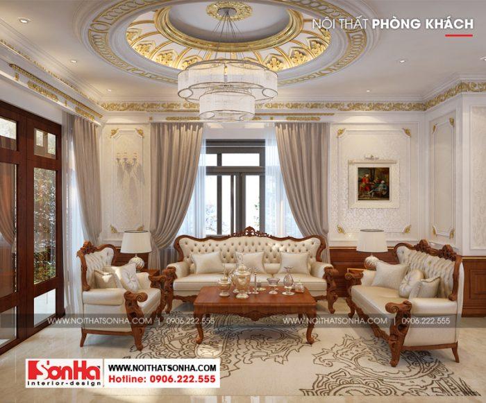 Mẫu thiết kế phòng khách phong cách tân cổ điển của biệt thự Senturia Sài Gòn