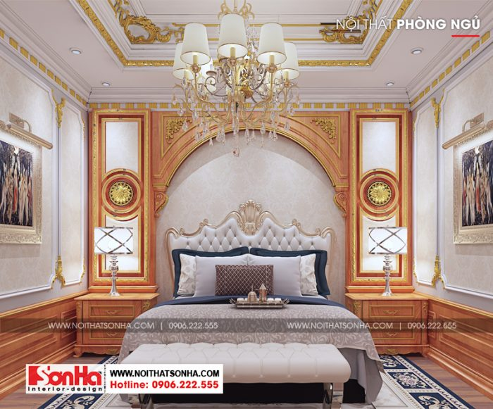 Phòng ngủ master bố trí đẹp với nội thất chất liệu gỗ tự nhiên