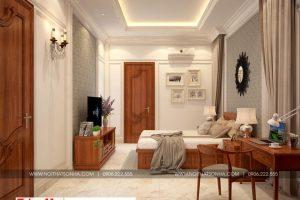 10 Thiết kế nội thất phòng ngủ 1 biệt thự tân cổ điển 3 tầng tại hà nội sh btp 0132
