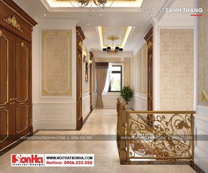 Sảnh thang kết nối các phòng ngủ của ngôi biệt thự đẹp 2 tầng