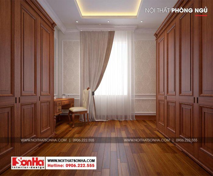 Thiết kế nội thất khu thay đồ trong không gian phòng ngủ biệt thự tân cổ điển