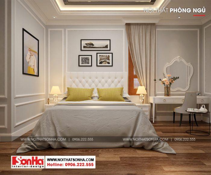 Mẫu phòng ngủ đẹp phong cách tân cổ điển với sàn gỗ công nghiệp