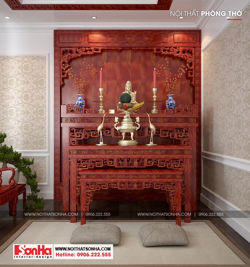 Thiết kế nội thất phòng thờ trang trí trang nhã cho biệt thự đẹp