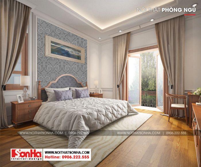 Không gian thoáng đãng đủ gió đủ sáng của nội thất phòng ngủ biệt thự 3 tầng