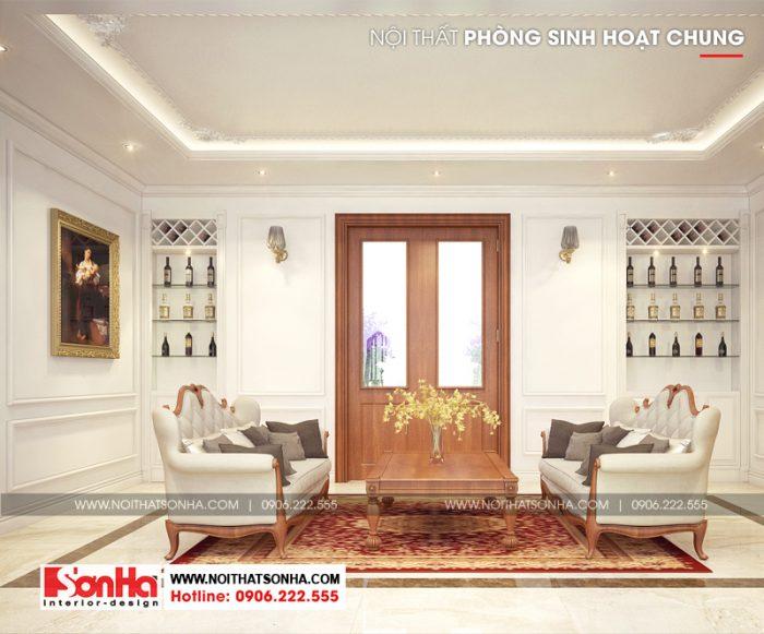 Phương án thiết kế nội thất phòng sinh hoạt chung phong cách tân cổ điển