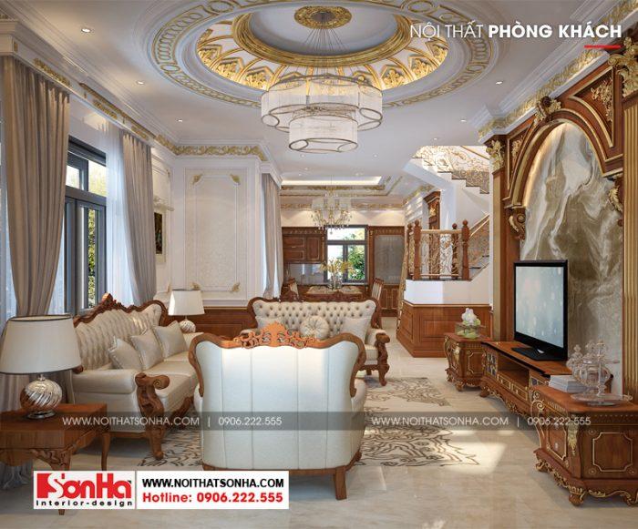 Không gian phòng khách được trang trí đồ nội thất gỗ tự nhiên cao cấp