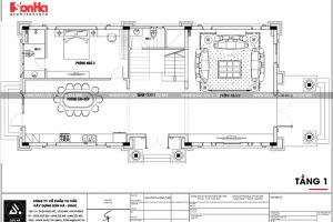 21 Mặt bằng công năng tầng 1 biệt thự tân cổ điển mặt tiền 10m tại hà nội sh btp 0132