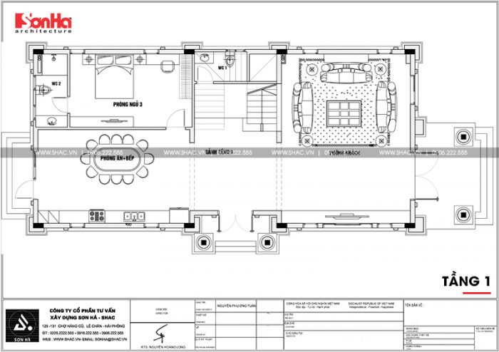 Bản vẽ mặt bằng công năng tầng 1 ngôi biệt thự 3 tầng mặt tiền 10m tân cổ điển đẹp