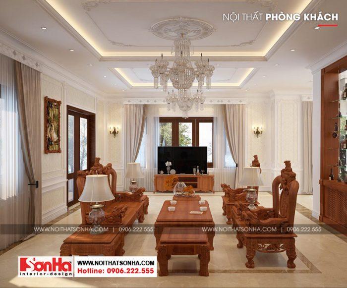 Không gian phòng khách biệt thự tân cổ điển sang trọng với đồ nội thất gỗ
