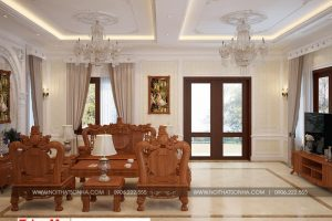 6 Thiết kế nội thất phòng khách biệt thự tân cổ điển đẹp tại hà nội sh btp 0132