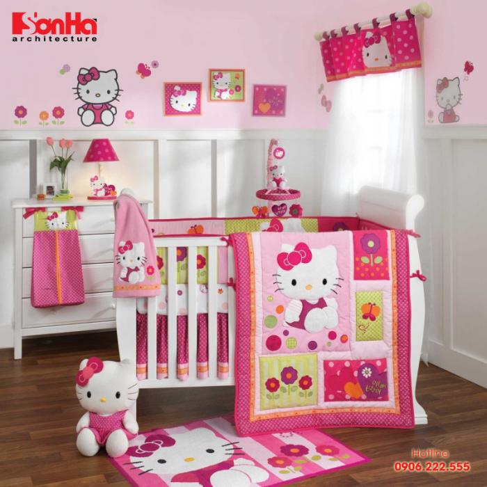 Cách trang trí phòng ngủ trẻ em sơ sinh với gam màu hồng và hoạt hình mèo Kitty