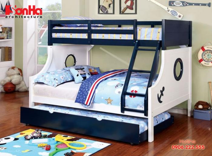 Đây cũng là một mẫu giường tầng cho bé trai rất được nhiều gia đình yêu thích