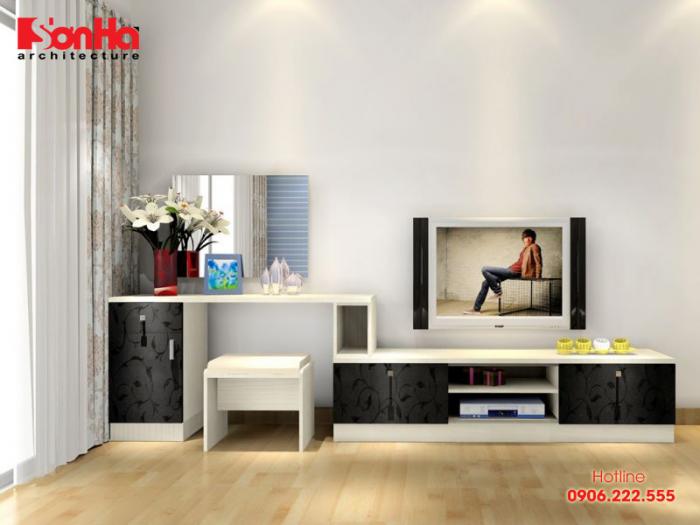 Kệ tivi gỗ hiện đại tối giản trong bố trí phòng khách thoáng đãng
