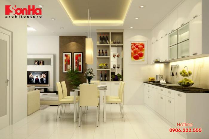 Không gian bếp ăn hiện đại kiểu hiện đại cho nhà phố tiện nghi